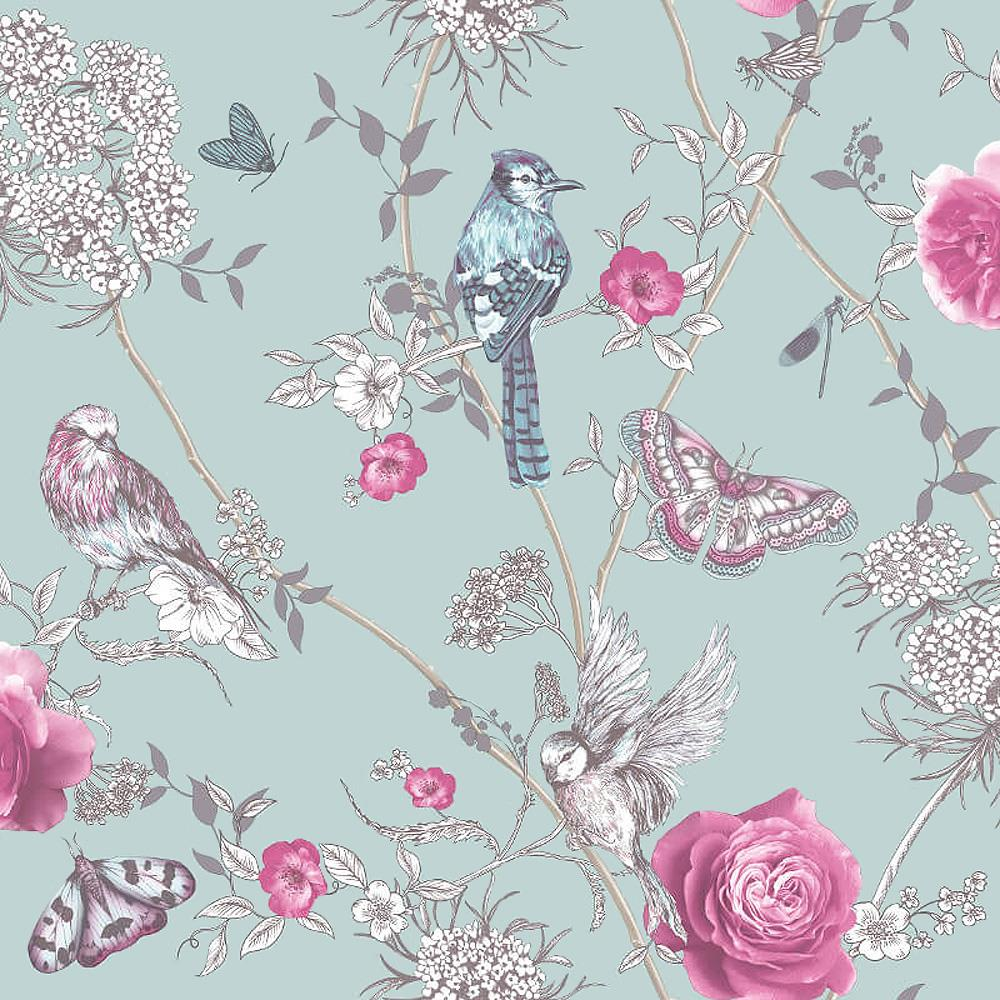 Arthouse Paradise Garden Birds Mint Green Glitter Floral Wallpaper