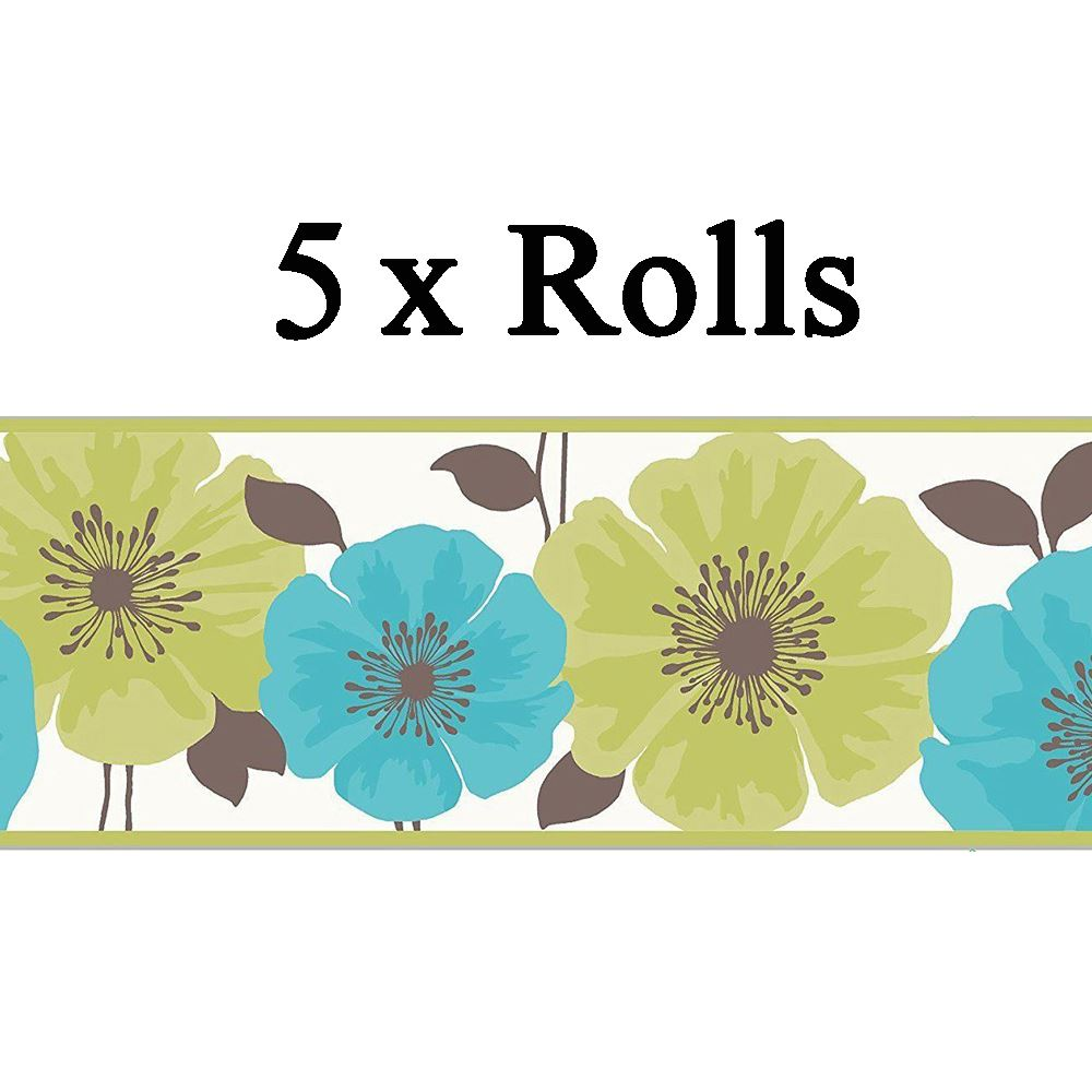 5 X Flower Floral Wallpaper Border White Green Teal Luxury Modern