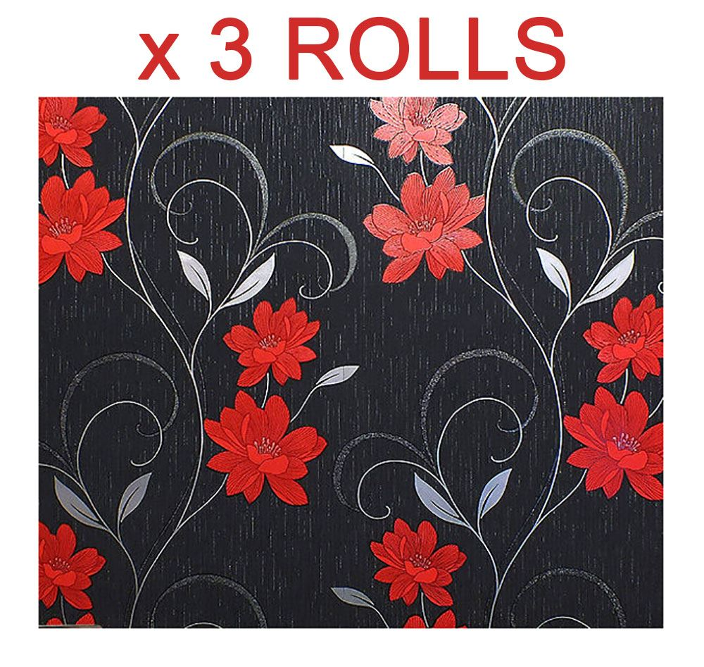 Black Grey Red Flower Wallpaper Glitter Effect Floral Textured