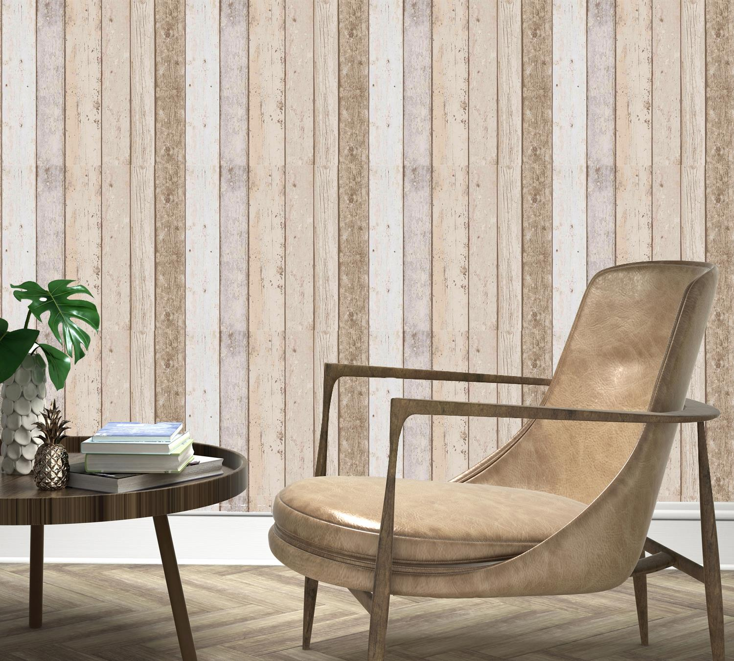 3D Effect Wood Panel Plank Wallpaper Distressed Cream Brown Beige A.S Creation