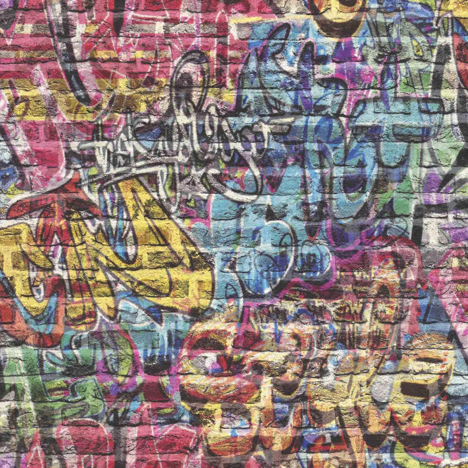 Details About 3D Effect Brick Wall Graffiti Wallpaper Spray Paint Teen Kids Boys Girls Rasch