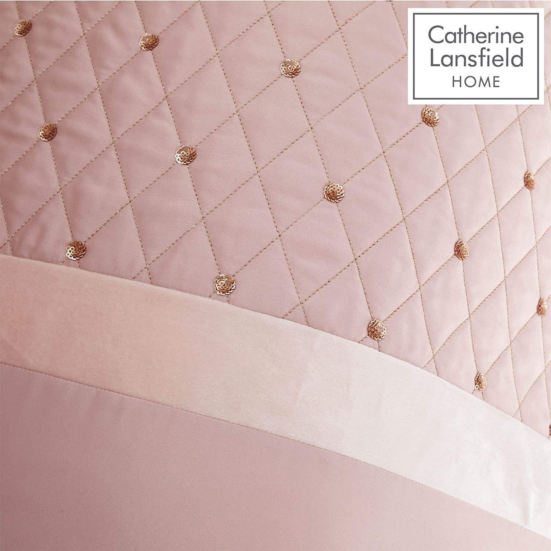 Catherine-Lansfield-lentejuelas-Cluster-Blush-Conjunto-de-Edredon-Reversible-Ropa-De-Cama-Cortina miniatura 7