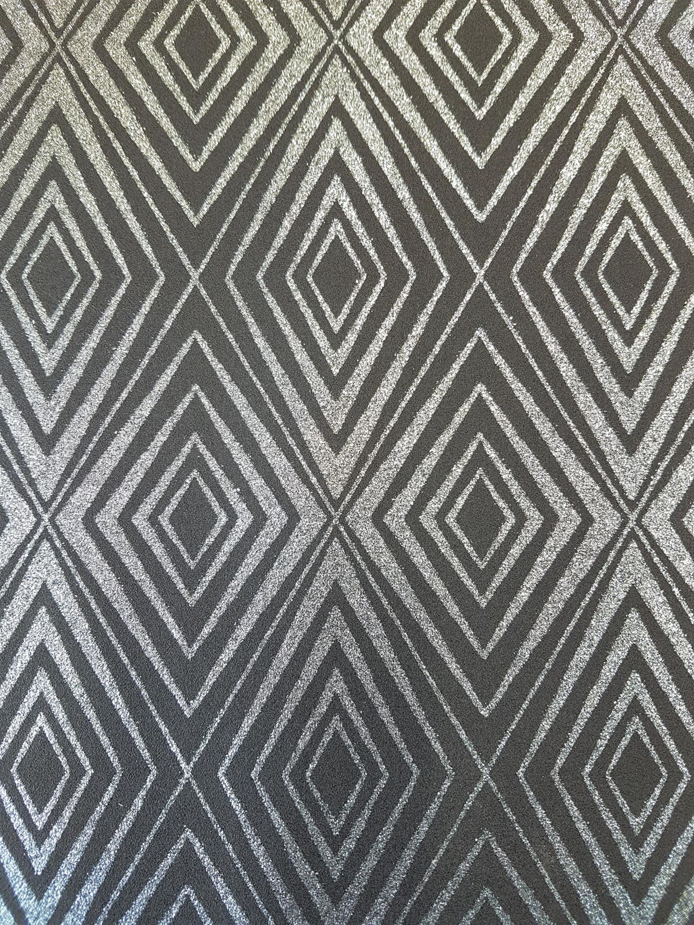 Details About Ps Diamond Black Silver Geometric Glitter Wallpaper Shimmer Sparkle Paste Wall