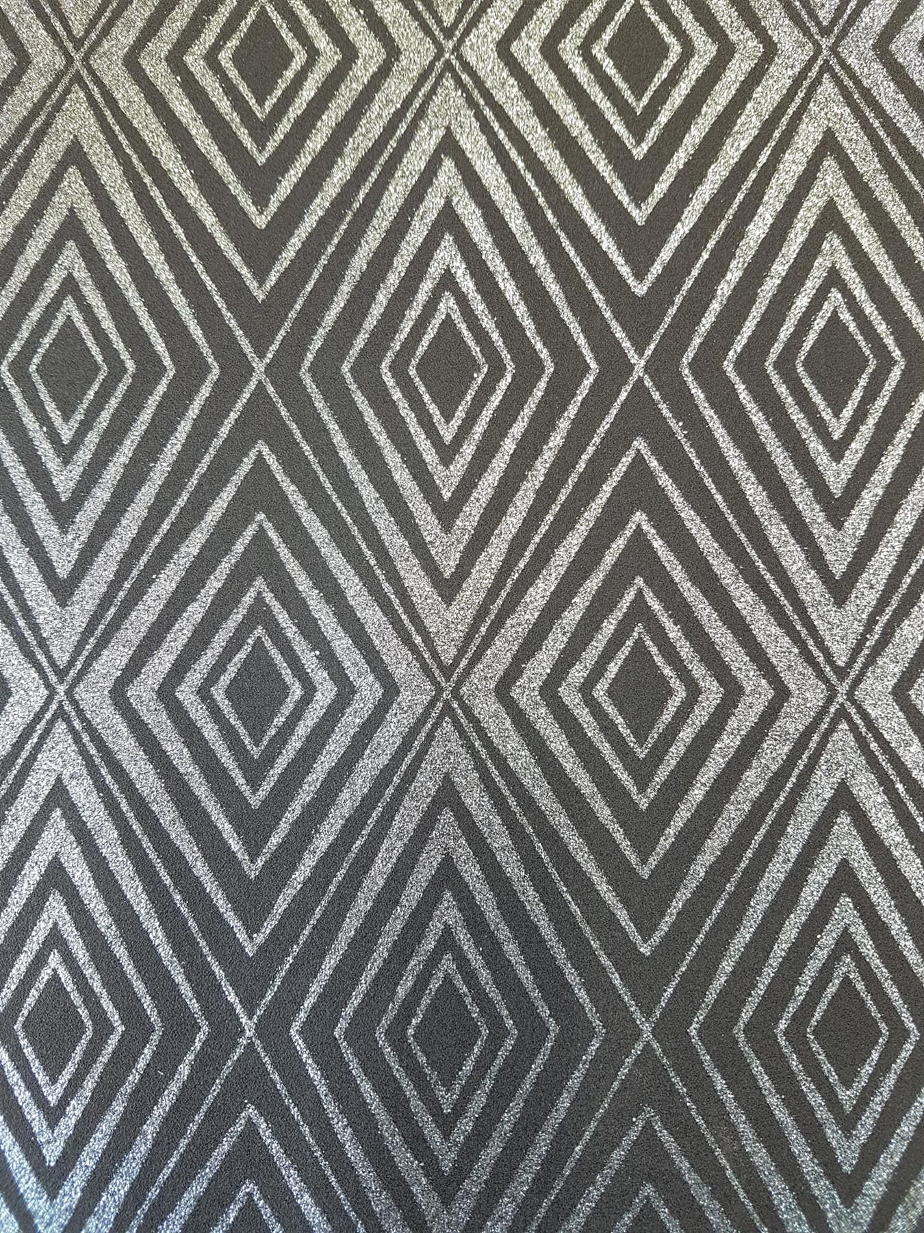 P S Diamond Black Silver Geometric Glitter Wallpaper Shimmer