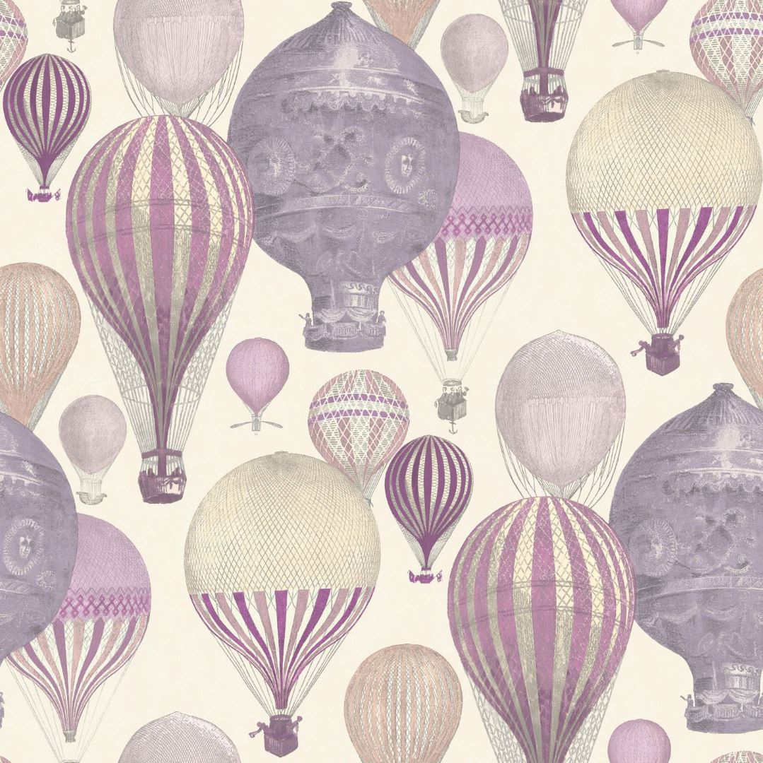 Grandeco Laurent Hot Air Balloon Wallpaper Pink Purple Balloons Washable Paper