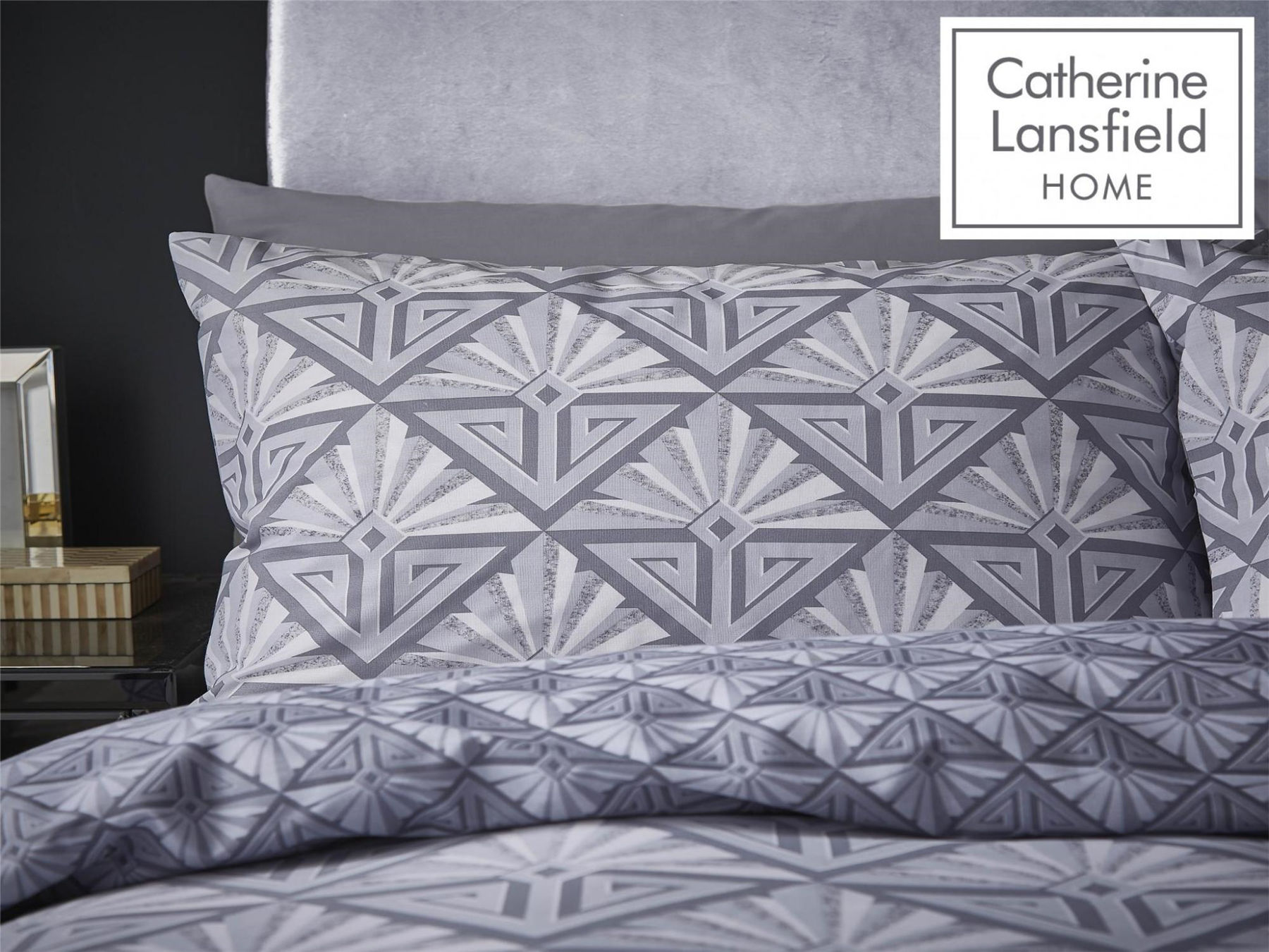 Catherine-Lansfield-Duvet-Set-Reversible-Art-Deco-Grey-Bedding-Pillows-Curtains thumbnail 19