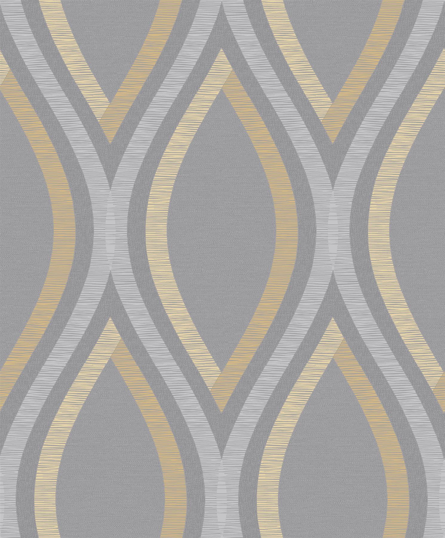 Strata Geometric Curve Wallpaper Black Gold Metallic Textured Embossed Grandeco