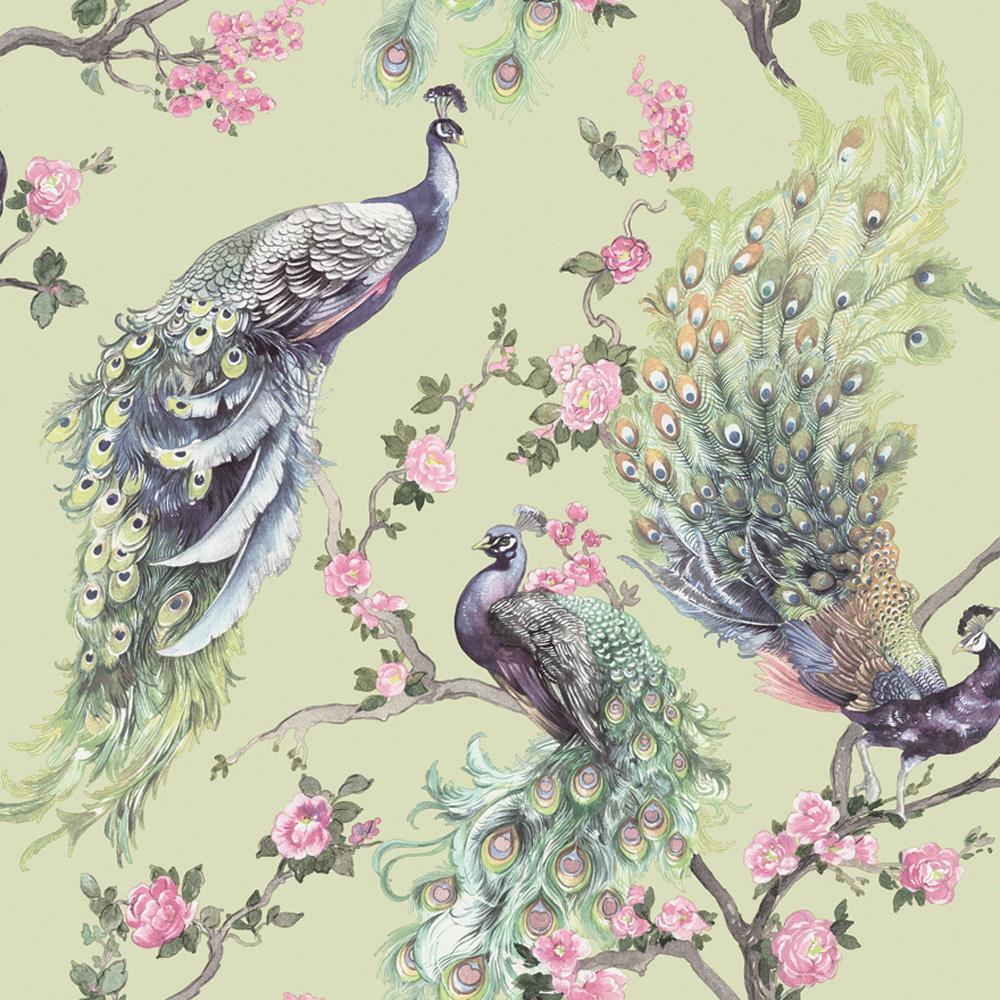 Holden Decor Menali Peacock Glitter Wallpaper Grey White Birds Leaf Floral Vinyl