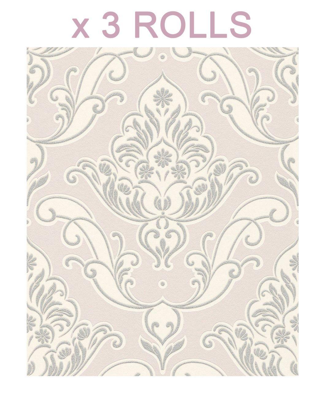 3 X Pink Silver Damask Wallpaper Ornamental Glitter Sparkle Floral