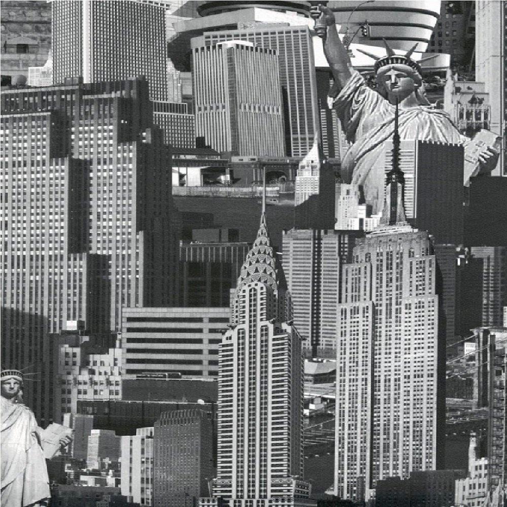 Muriva New York Cityscape Wallpaper Black White Skyline Landmarks