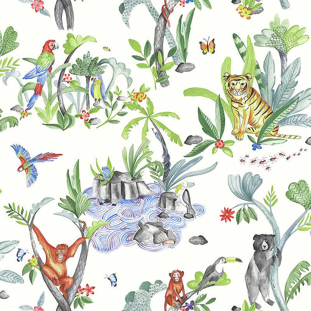 Children/'s Jungle Mania Animal Pattern Wallpaper Tiger Parrot Hippo White Green