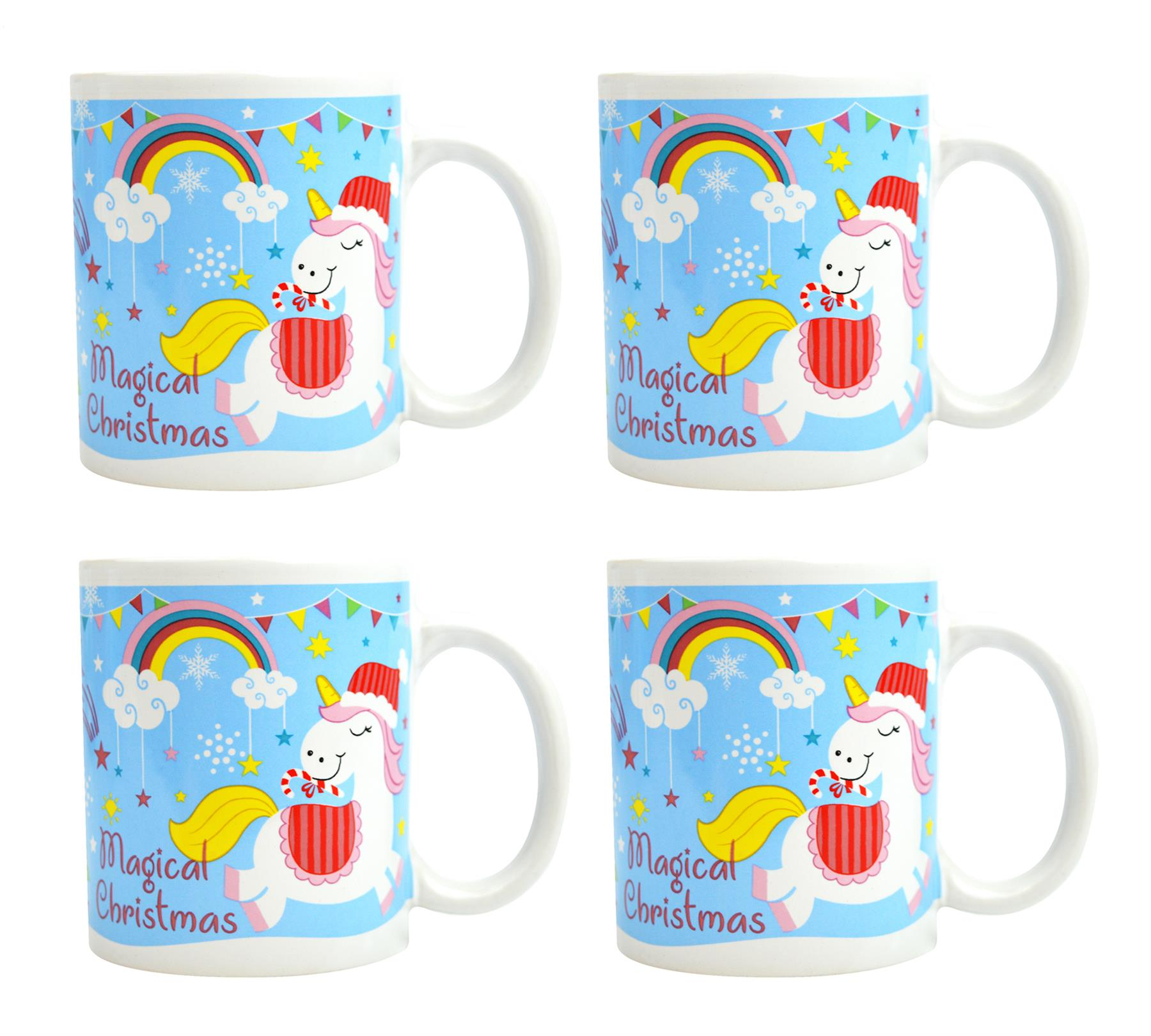Christmas Coffee Mugs.Details About 4 Coffee Mugs Tea Cups Christmas Unicorn Novelty Set Funny Festive Porcelain