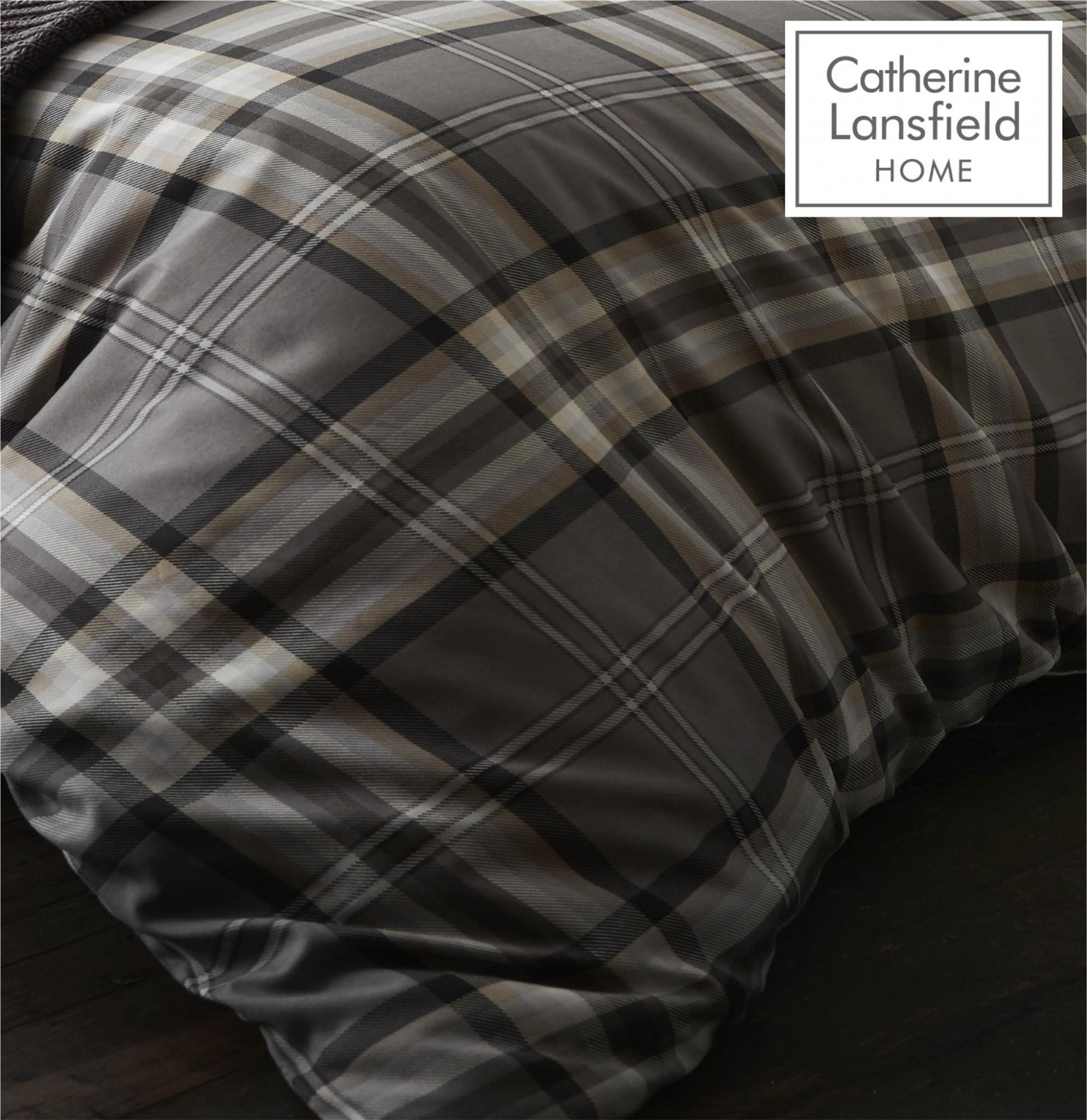 Catherine-Lansfield-Duvet-Set-Reversible-Check-Bedding-Charcoal-Pillows-Curtain thumbnail 8