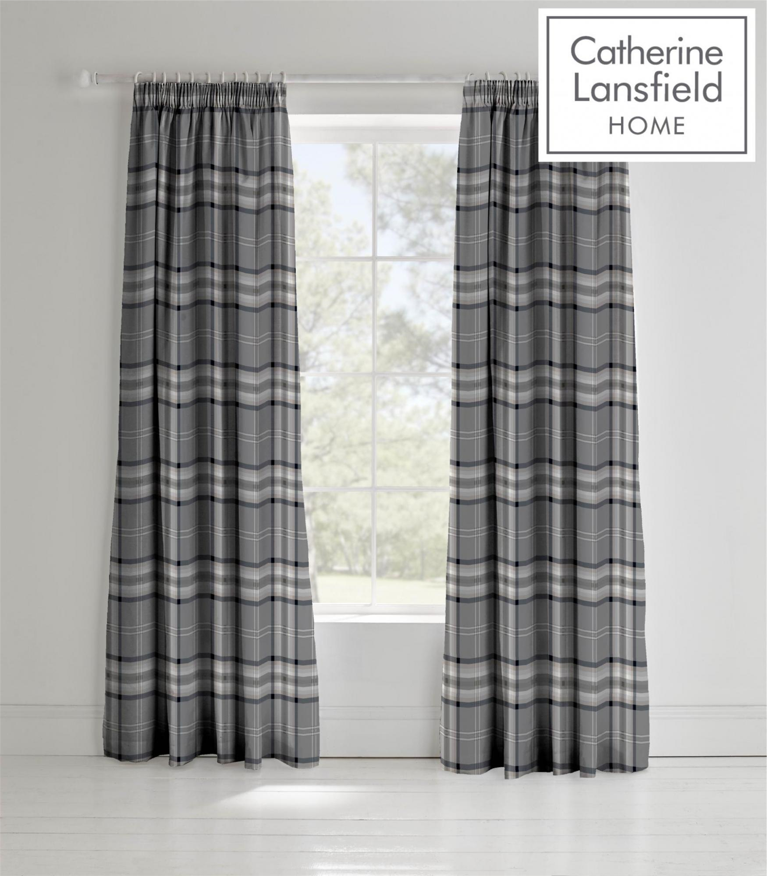 Catherine-Lansfield-Duvet-Set-Reversible-Check-Bedding-Charcoal-Pillows-Curtain thumbnail 3