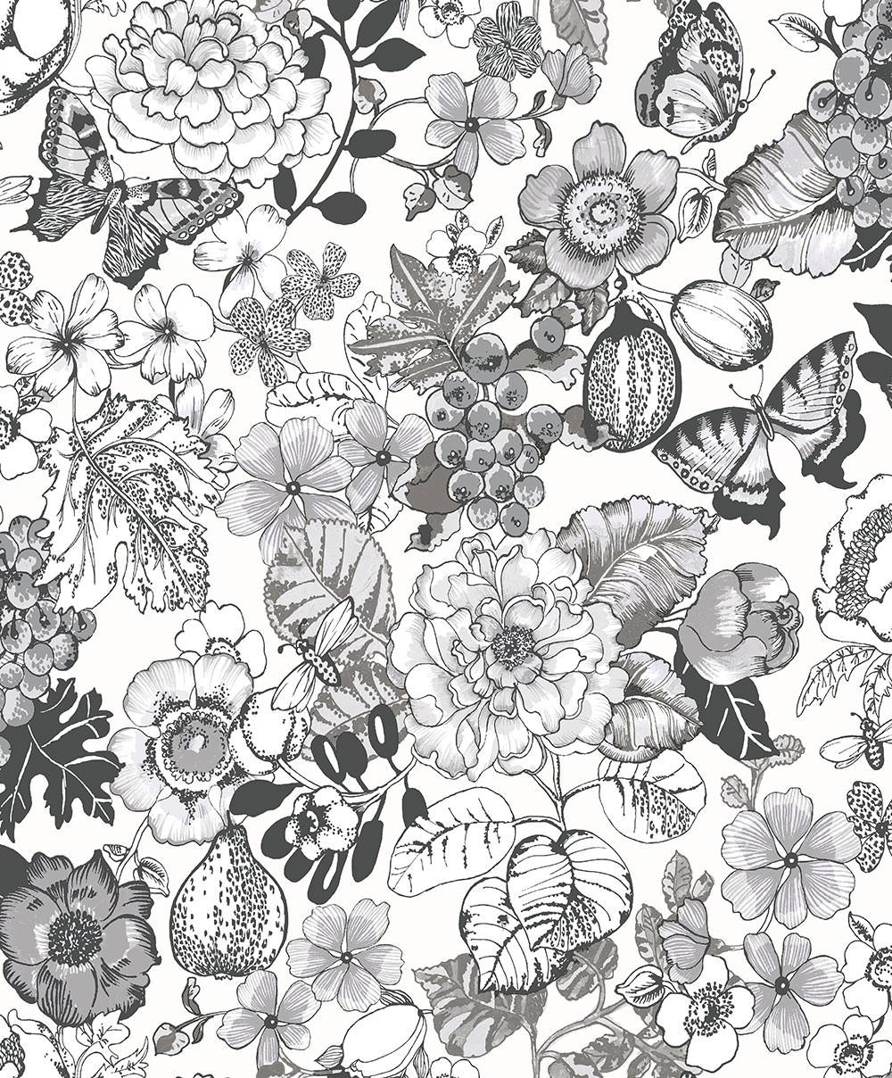 Butterflies Leaf Floral Glitter Wallpaper Black White Paste Wall Holden Acorus Ebay