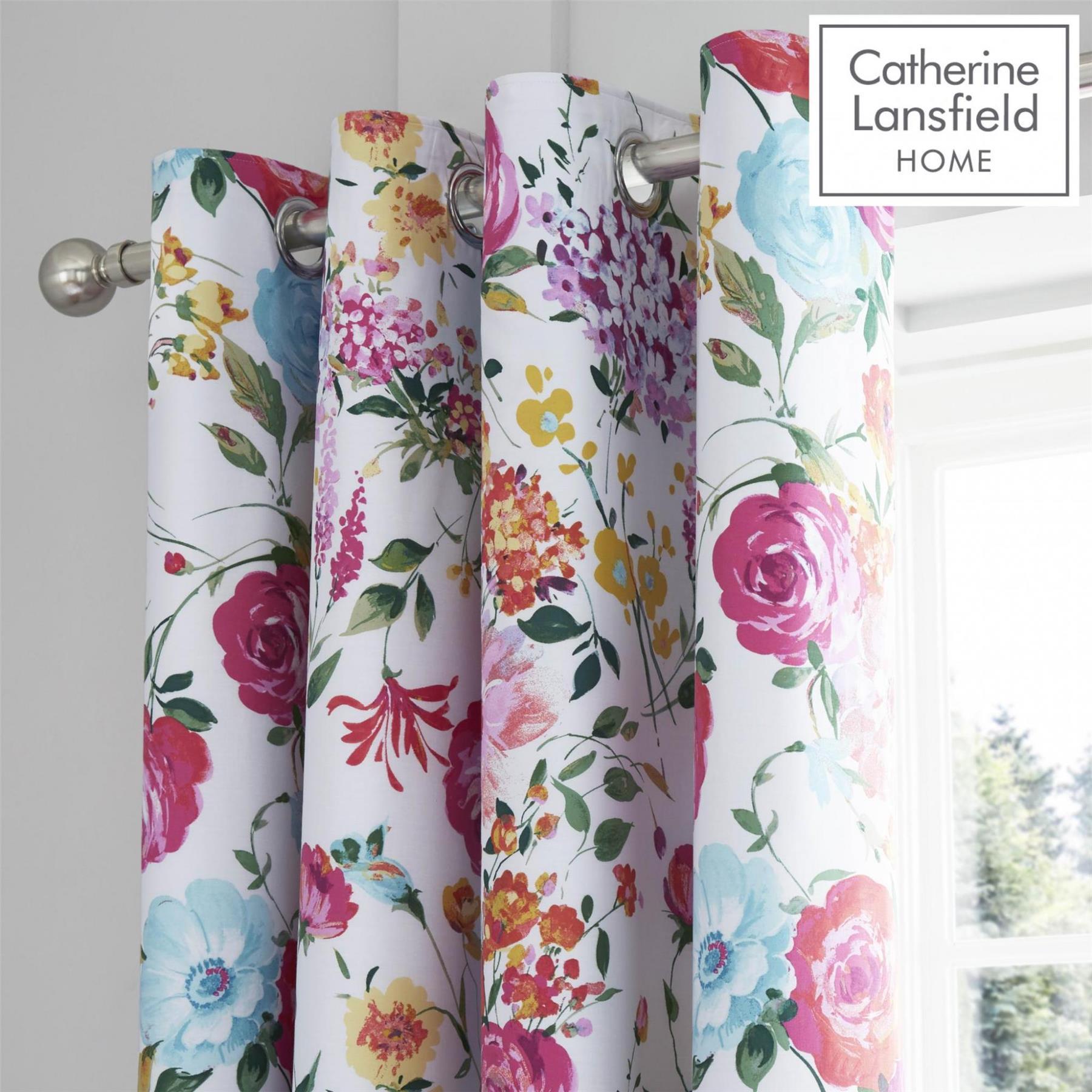 Catherine-Lansfield-biancheria-da-letto-Salisbury-Copripiumino-Set-Tende-Cuscino-Copriletto miniatura 9