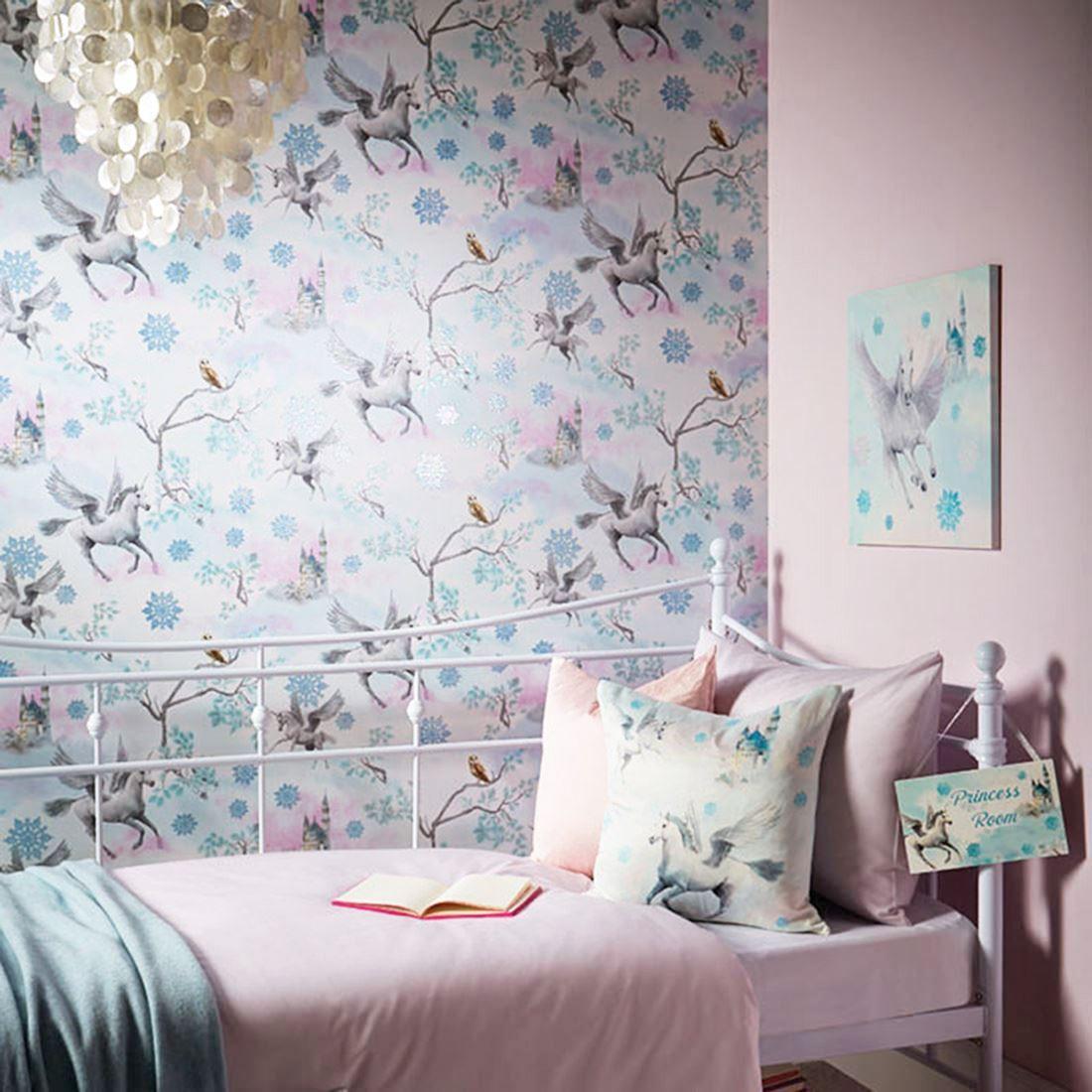 Girls-Unicorn-Wallpaper-Children-039-s-Pink-White-Glitter-Rainbow-Butterflies-Floral thumbnail 6
