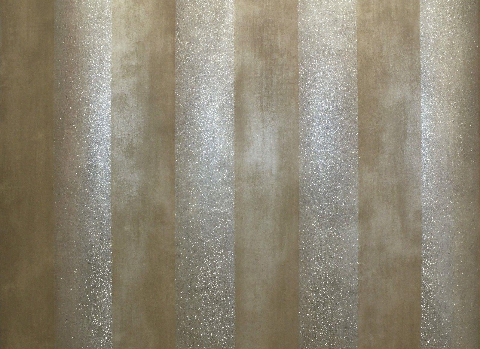 Metallic Brown Stripe Striped Wallpaper Silver Glitter Shimmer Paste The Wall