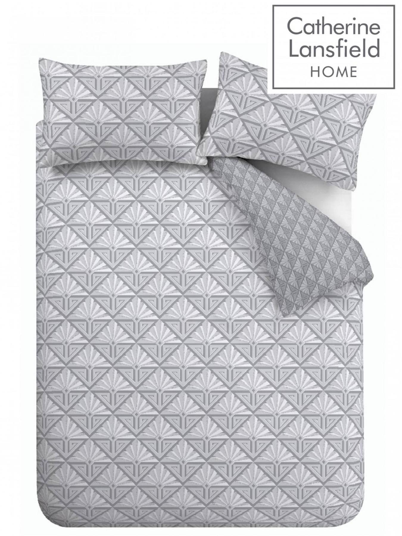 Catherine-Lansfield-Duvet-Set-Reversible-Art-Deco-Grey-Bedding-Pillows-Curtains thumbnail 14