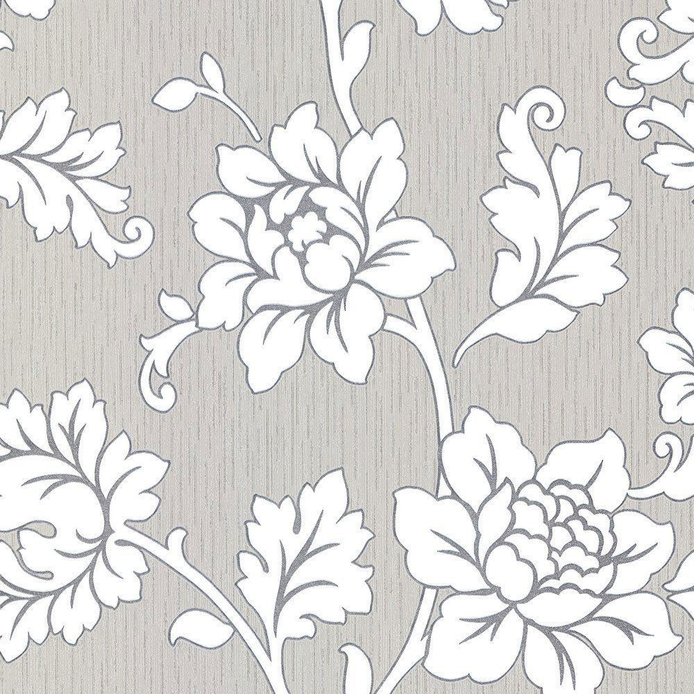 Anya Motif Wallpaper Arthouse Flowers Floral Textured Vinyl Grey