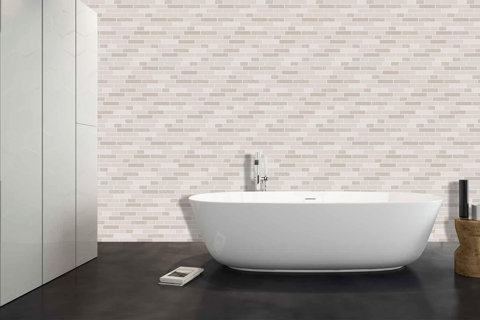 Oblong-Stone-Tile-Kitchen-Bathroom-Wallpaper-Vinyl-Silver-Glitter-Holden-Decor thumbnail 4