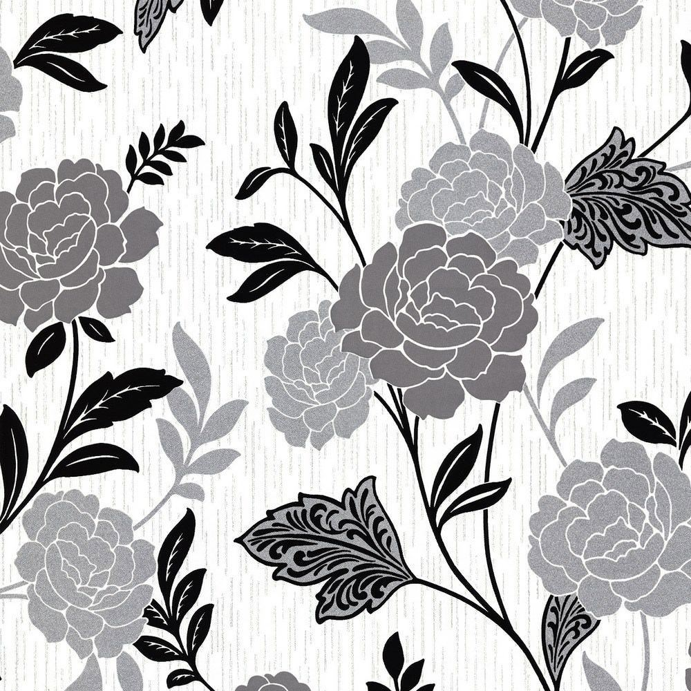 Black White Silver Flower Floral Wallpaper Textured Vinyl Glitter