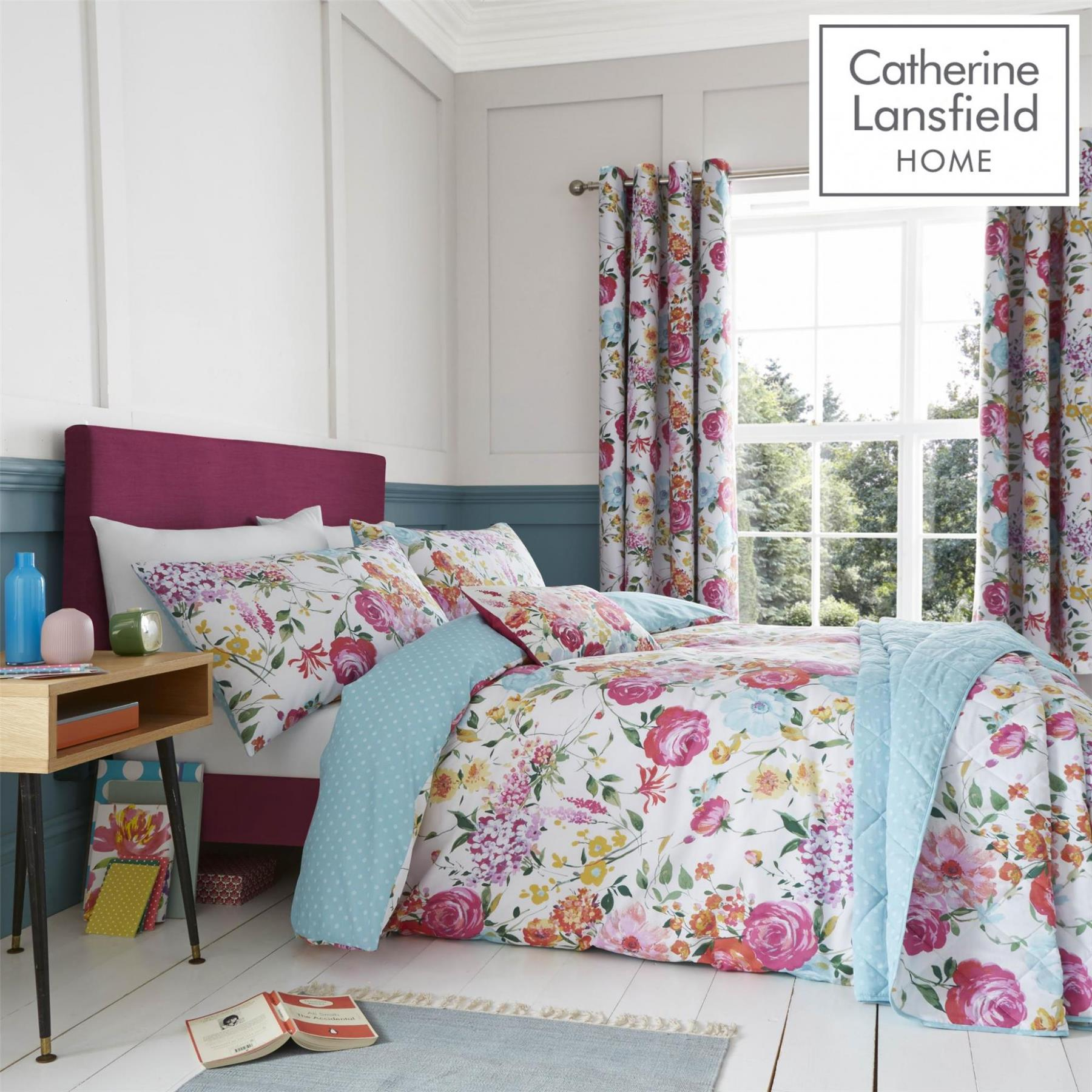 Catherine-Lansfield-biancheria-da-letto-Salisbury-Copripiumino-Set-Tende-Cuscino-Copriletto miniatura 21