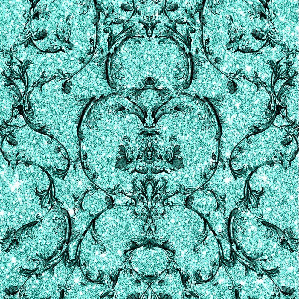Baroque-Scroll-Wallpaper-Damask-Glitter-Textured-Vinyl-Teal-amp-Pink-Muriva