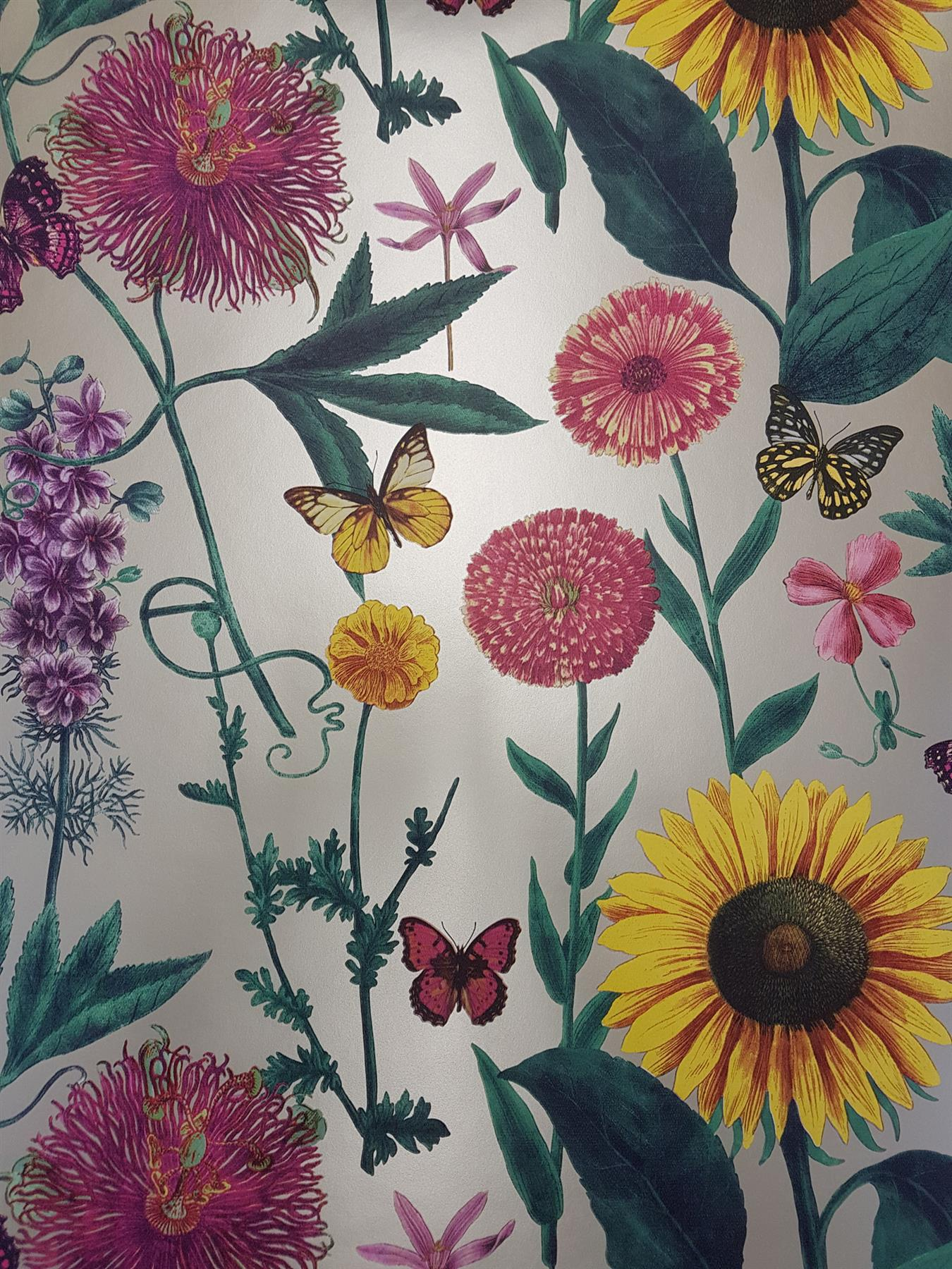Summer Garden Flower Floral Wallpaper Metallic Sunflower Butterfly