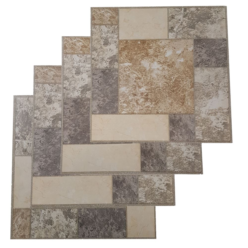 Détails sur Dalles de Sol Autocollante vinyl Flooring cuisine salle de bain  marron Mosaïque Gris- afficher le titre d\'origine