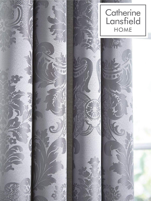 thumbnail 10 - Catherine Lansfield Damask Jacquard Silver Duvet Set Reversible Bedding Curtain