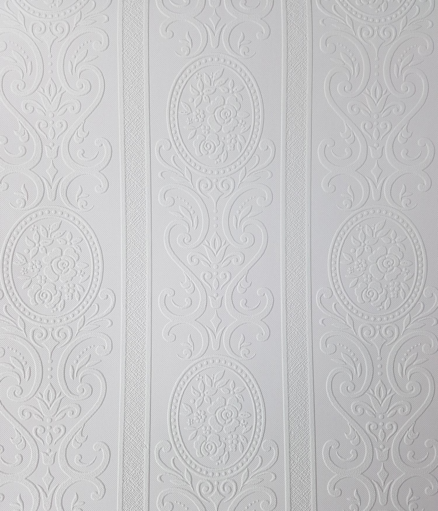 Anaglypta Louisa White Paintable Floral Stripe Wallpaper Vinyl