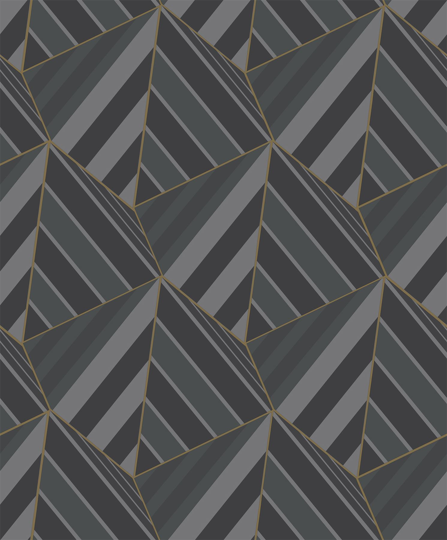 Details About 3d Triangle Geometric Wallpaper Black Grey Metallic Gold Textured Grandeco