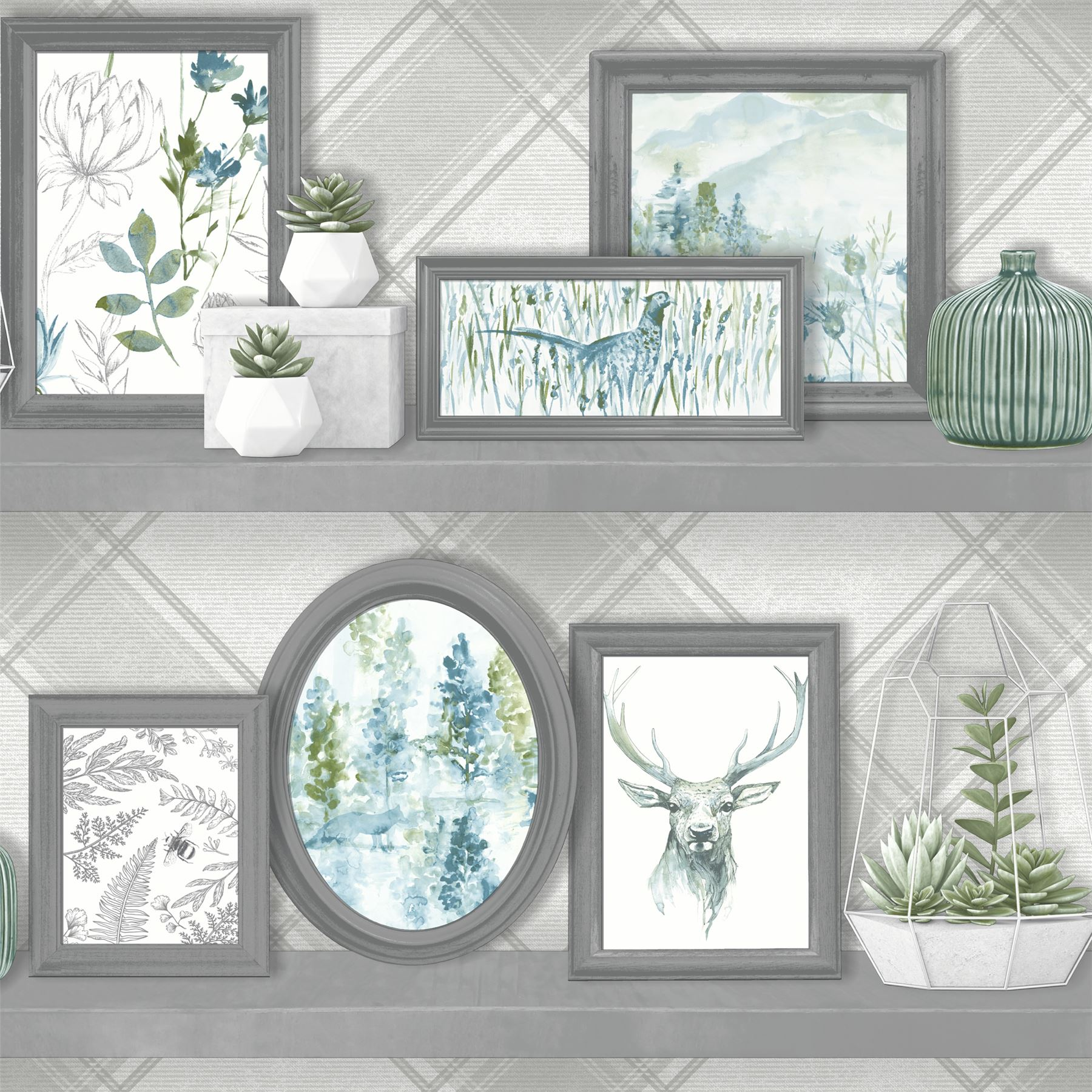 Details about Stag Frames Wallpaper Animal Print Pheasant Floral Flowers Grey Teal Holden