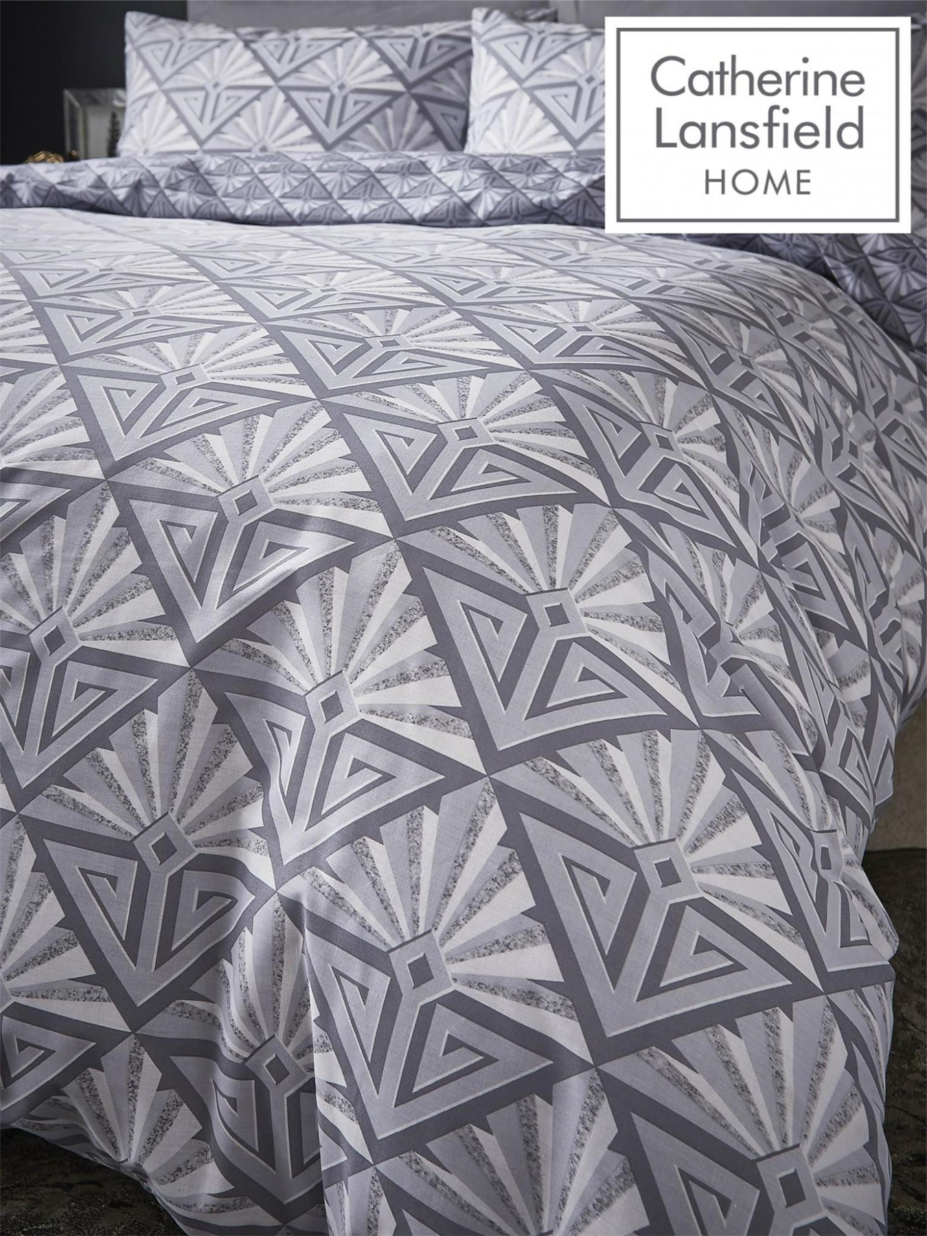 Catherine-Lansfield-Duvet-Set-Reversible-Art-Deco-Grey-Bedding-Pillows-Curtains thumbnail 10