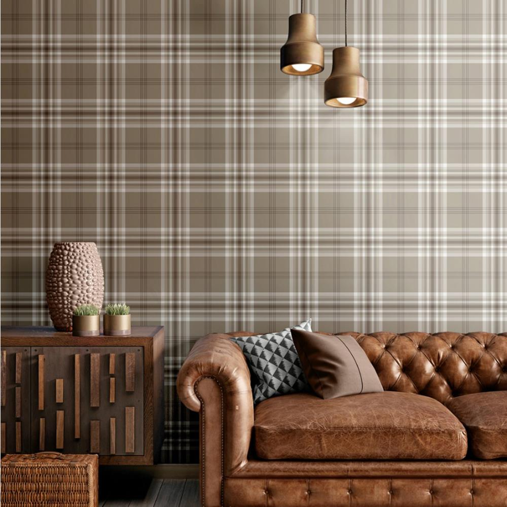 Yellow-Grey-Charcoal-Taupe-Check-Wallpaper-Country-Tartan-Plaid-Muriva-Kelso thumbnail 10