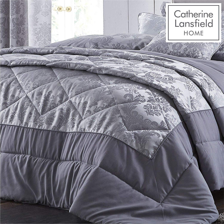 thumbnail 3 - Catherine Lansfield Damask Jacquard Silver Duvet Set Reversible Bedding Curtain