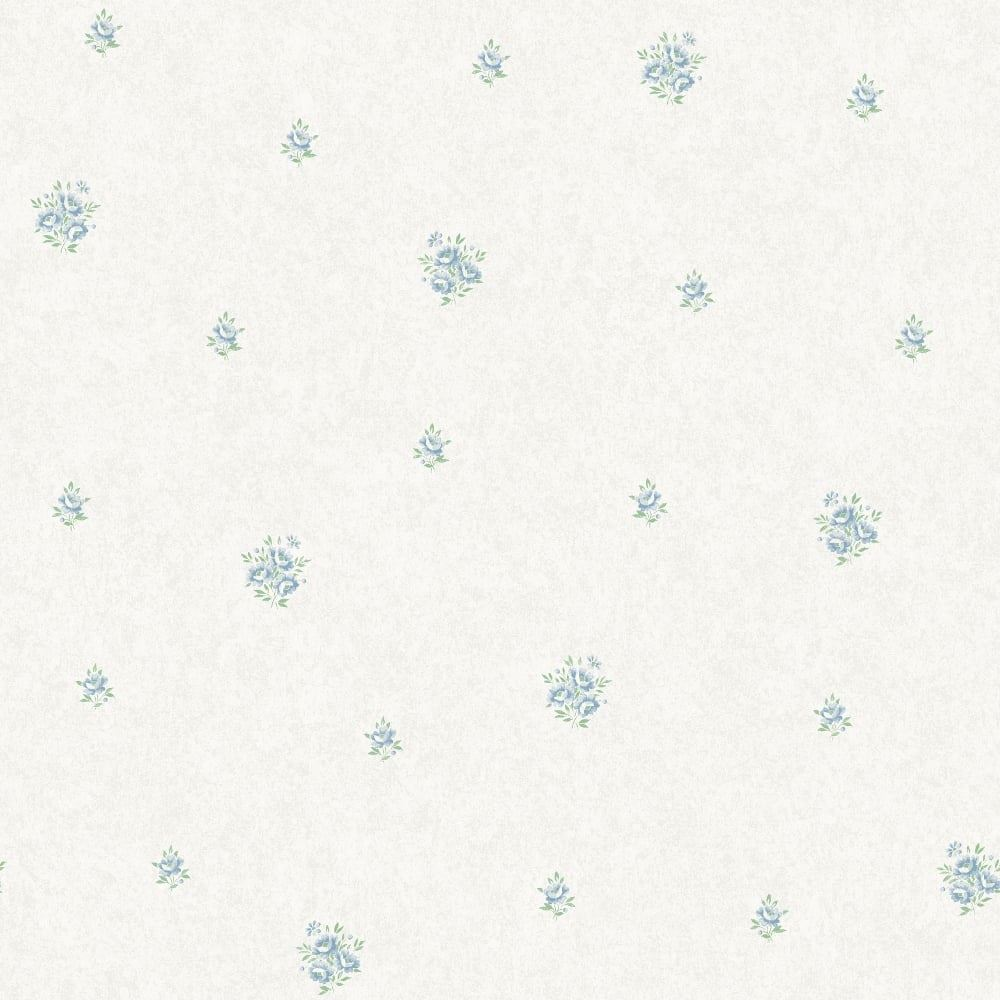 Floral Flower Wallpaper Blue Metallic Mica Shimmer Country Holden