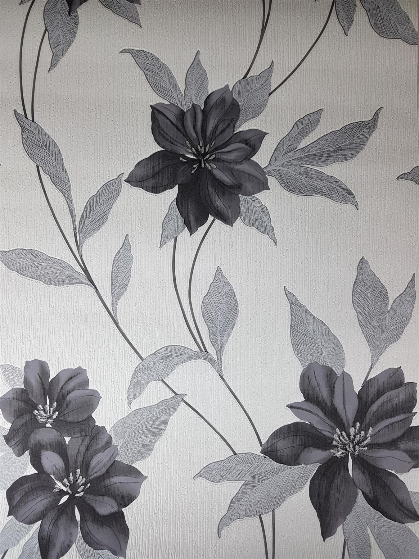 Details About Spring Black Flower Glitter Wallpaper Floral Black White Textured Vinyl Erismann