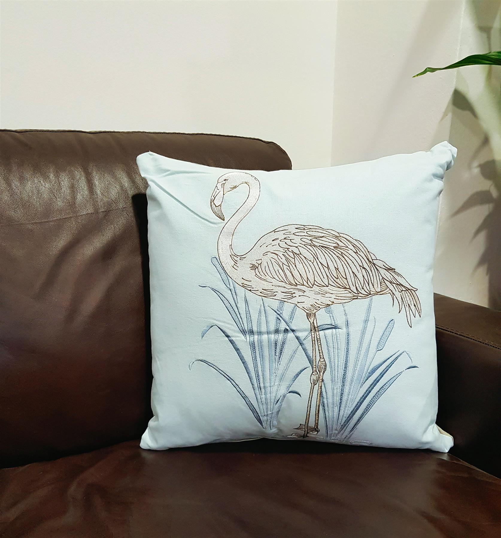 Flamingo-Cushion-Pillow-Embroidered-Cover-Case-Pale-Blue-Silver-Nature-Exotic thumbnail 5