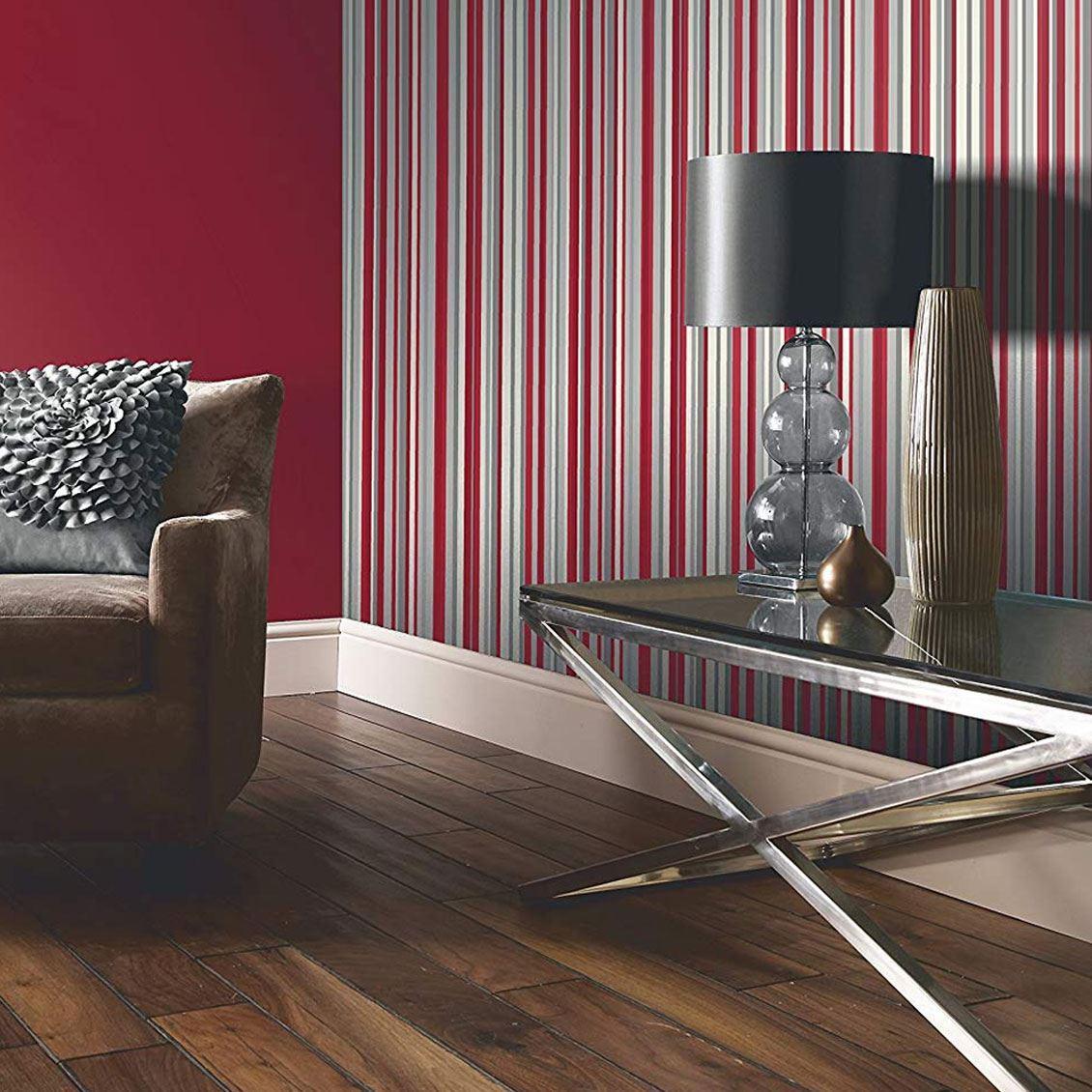 Details about sophia stripe wallpaper red white metallic silver striped modern luxury arthouse