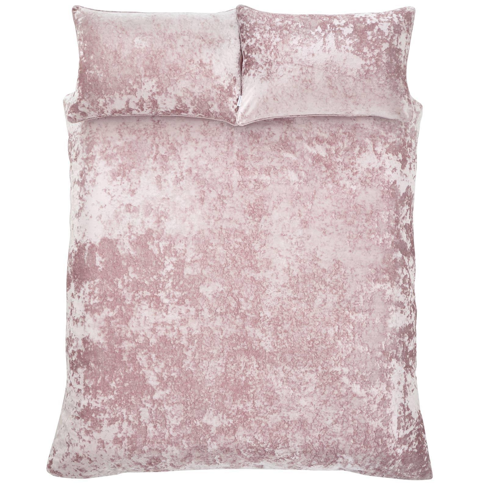 Catherine Lansfield Crushed Velvet Duvet Cover Set Curtains Throw Blush Pink