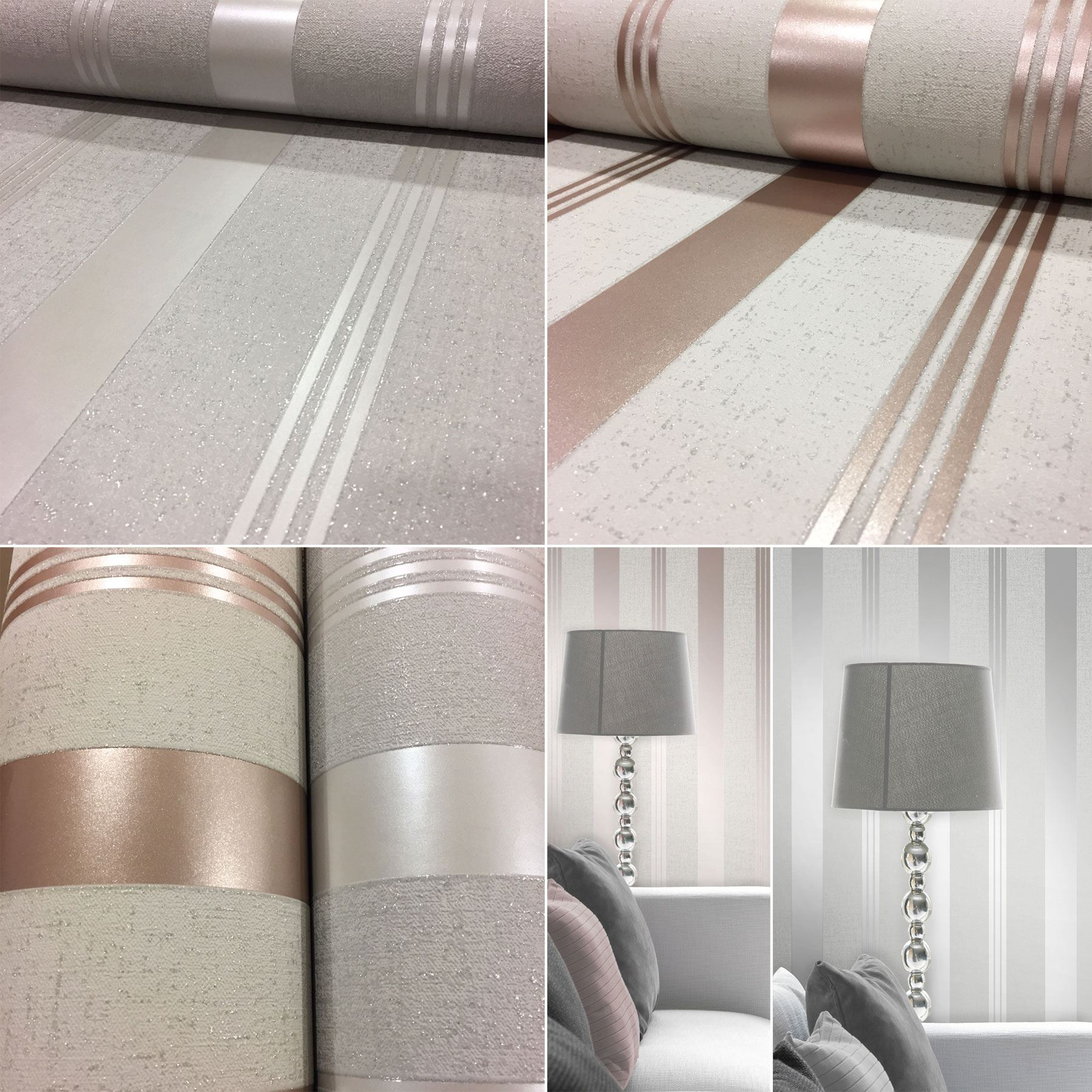 Fine Decor Quartz Silver Glitter Grey Stripe Textured Vinyl Wallpaper FD41967