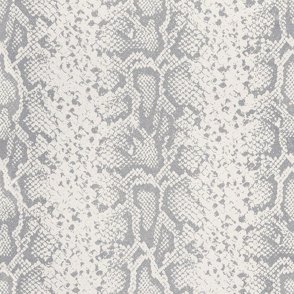 Rasch Grey Silver Glitter Animal Print Snake Skin Textured Non Woven Wallpaper