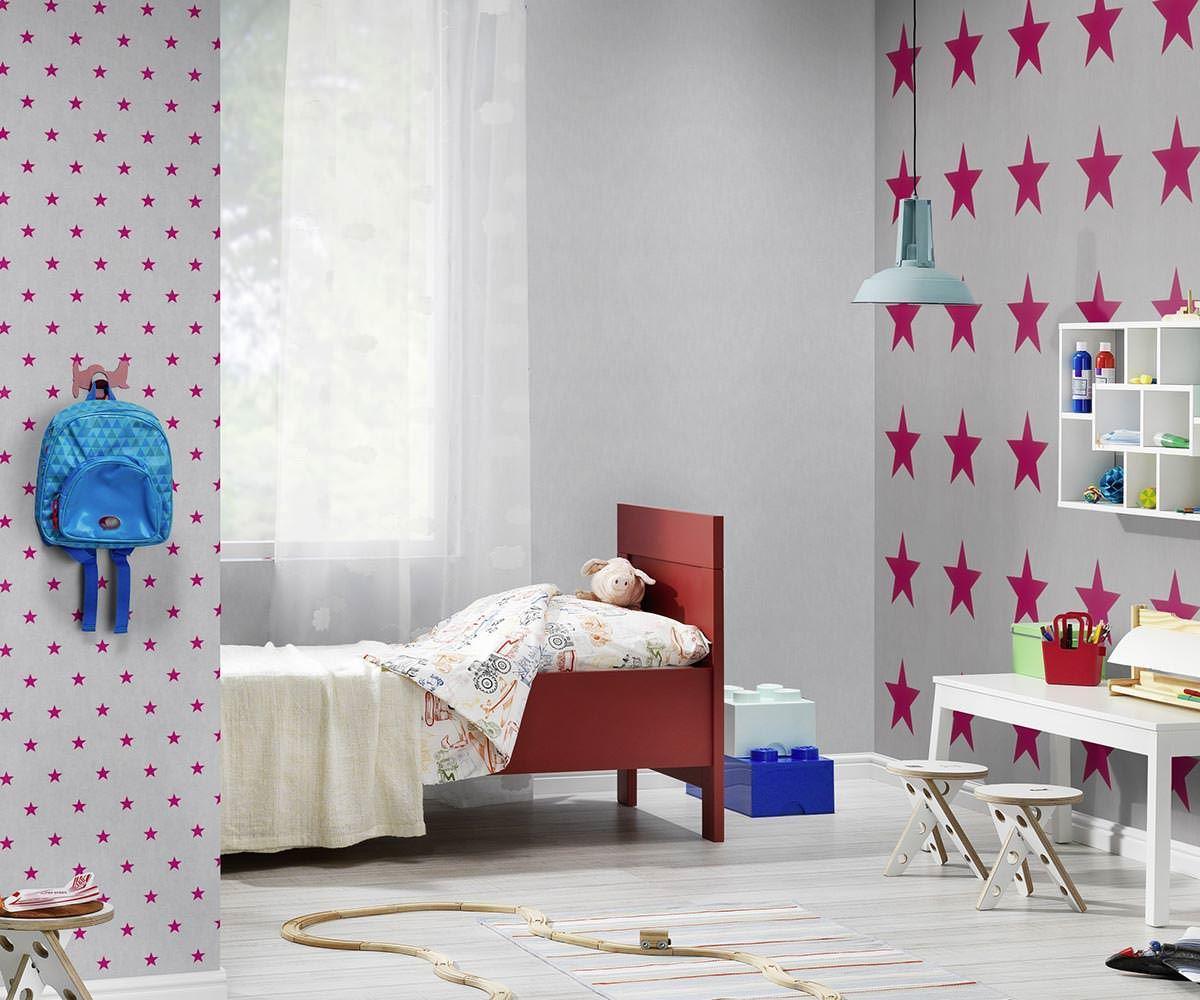 Details about Rasch Grey Pink Star Wallpaper Stars Girls Children\'s Bedroom  Teens Modern