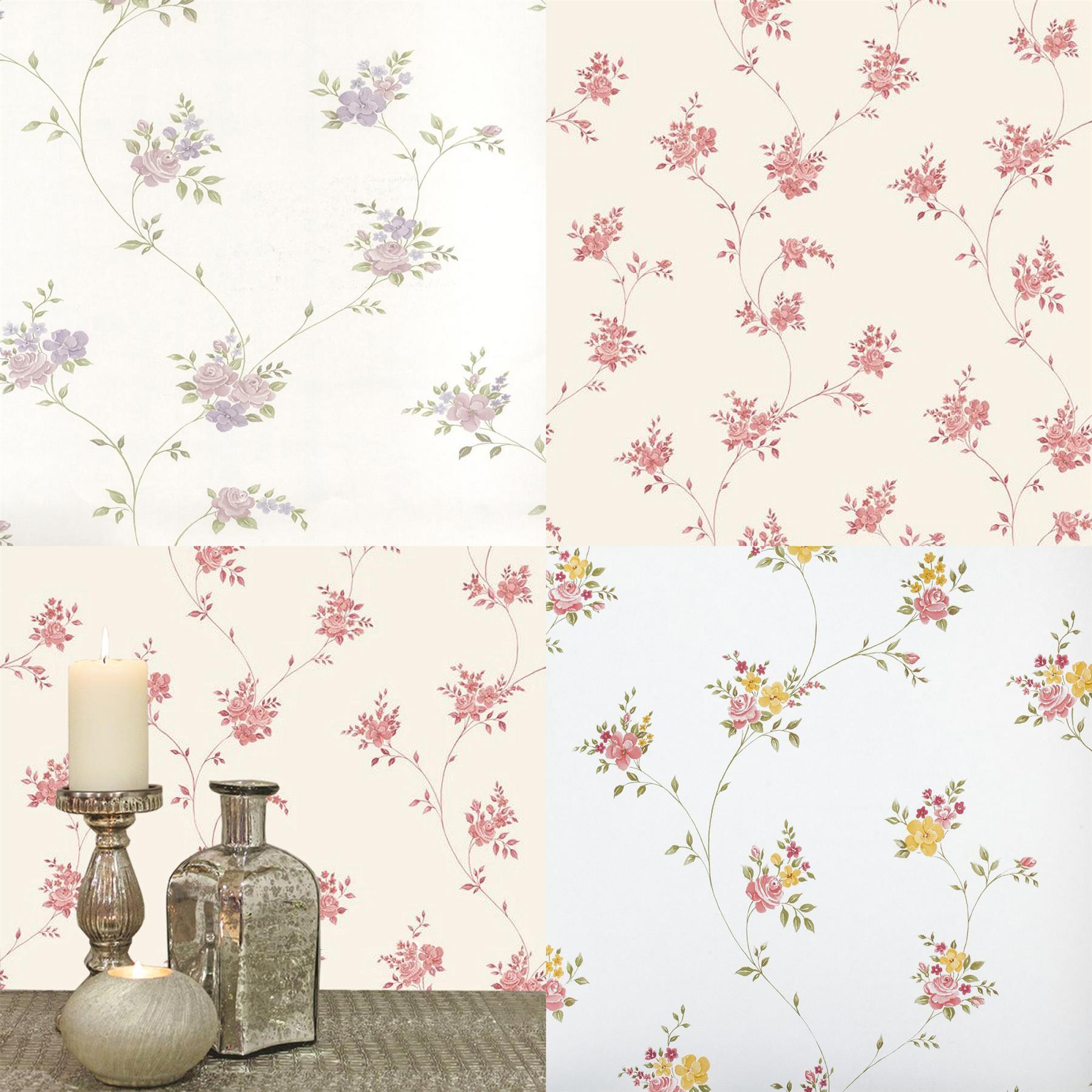 Floral Trail Wallpaper Flowers Pink Lilac Red White Beige Vintage