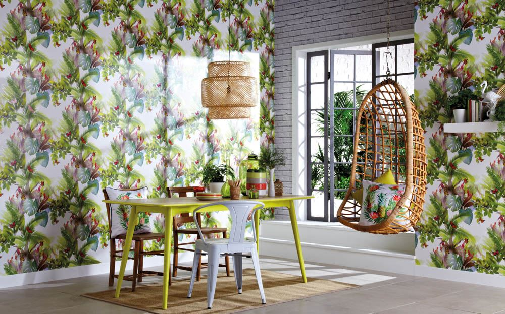 Green Tropical Leaf Palm Tree Wallpaper Butterfly Amazonia Citrus Arthouse