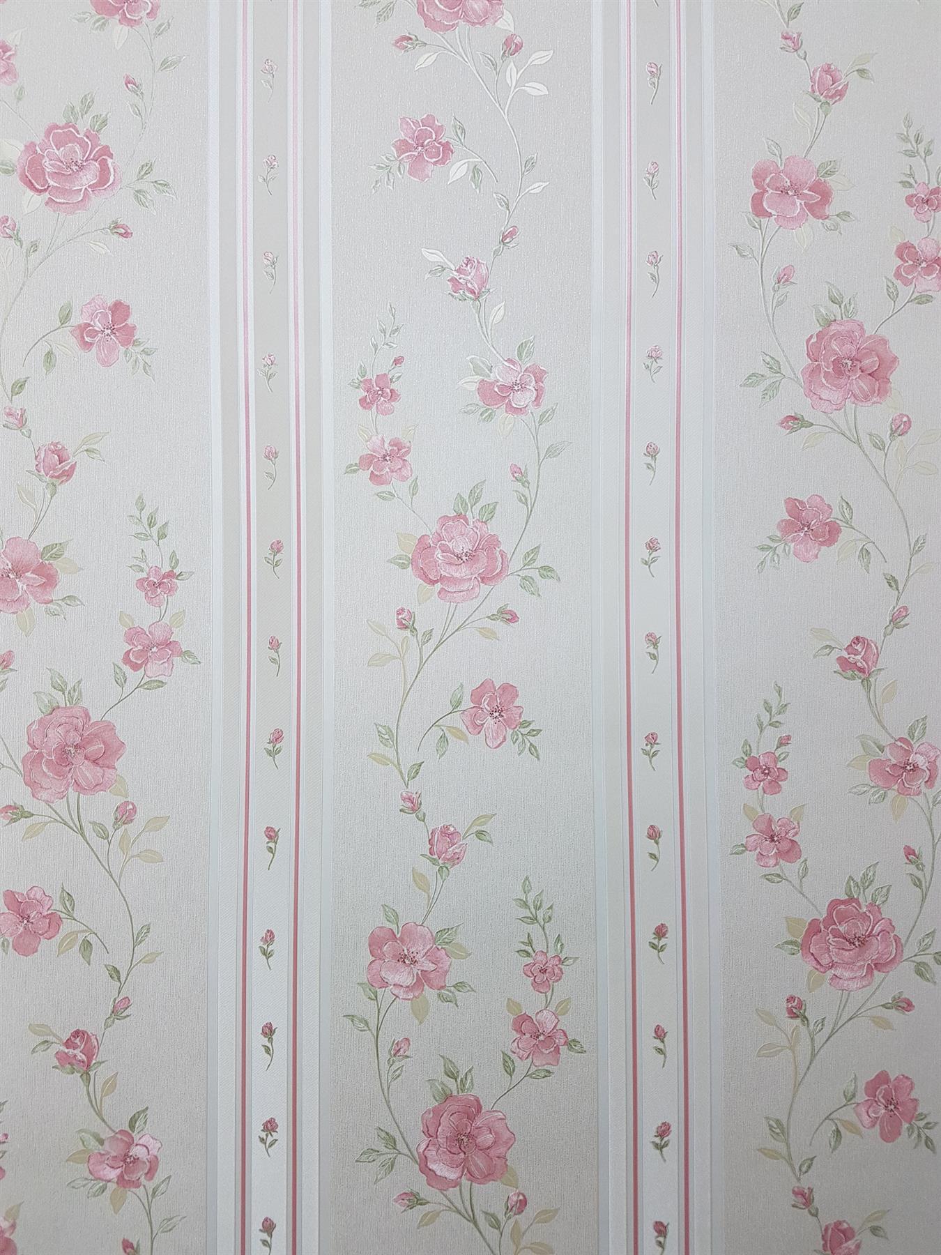 Pink Cream Floral Stripe Wallpaper Green Embossed Pre Pasted Vinyl