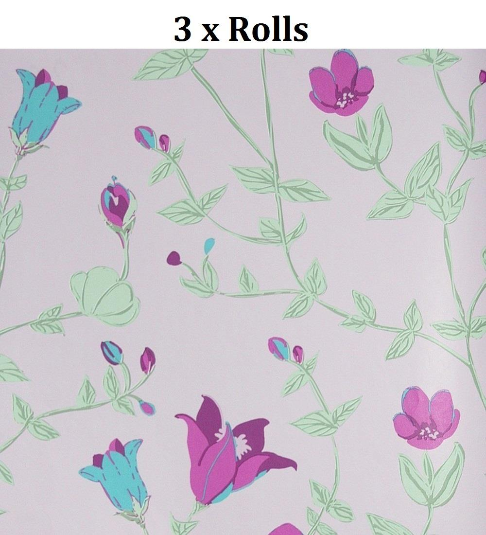 3 X Girls Pink Floral Wallpaper Green Purple Leaf Plants Vintage