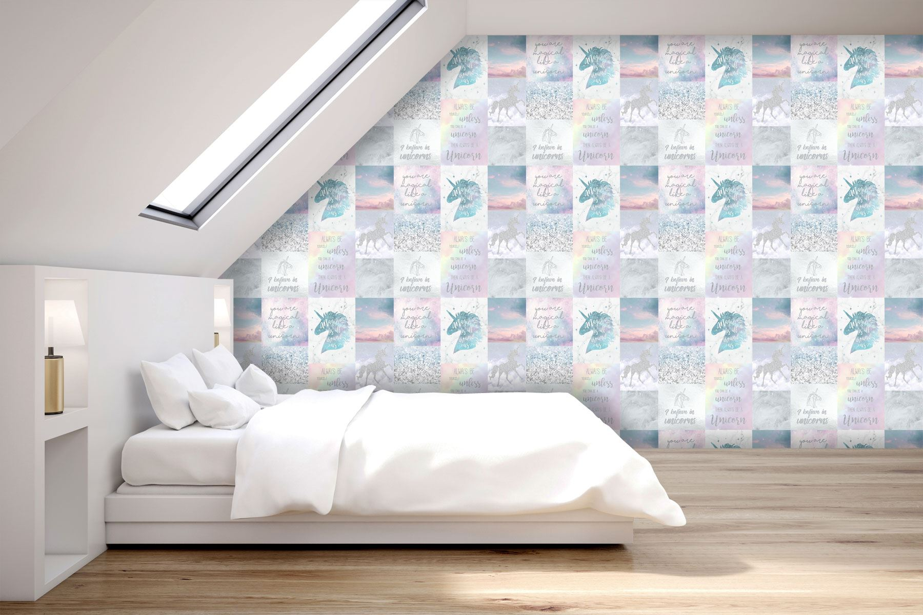 Girls-Unicorn-Wallpaper-Children-039-s-Pink-White-Glitter-Rainbow-Butterflies-Floral thumbnail 27